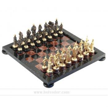 Шахматы русские камень змеевик, креноид арт.3313
