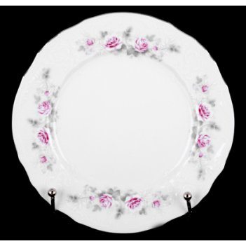 Набор тарелок роза серая платина 19см. 6шт.