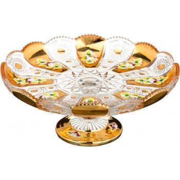 Тортовница на ножке lefard gold glass диаметр=27 см высота=10 см