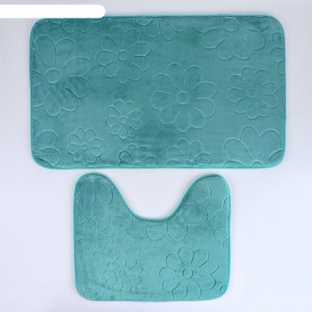 Набор ковриков для ванной и туалета поле 2 шт, 50х80, 39х50 см, цвет зелен