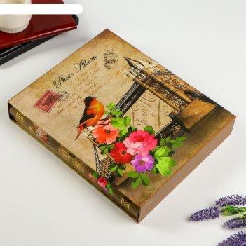 Фотоальбом на 400 фото 10х15 см башня. цветы. птица в коробке микс 44х27х5