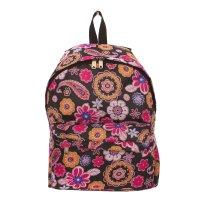 4804 п600/д рюкзак молод, 30*21*39см, чер/цветы , 1 отд, нар карман