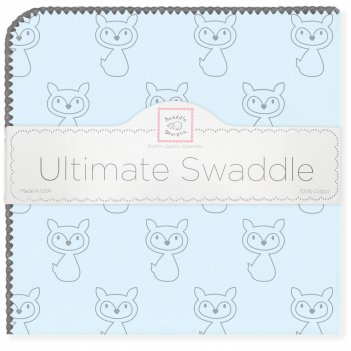 Пеленка фланель для новорожденного swaddledesigns ultimate gray fox pstl b