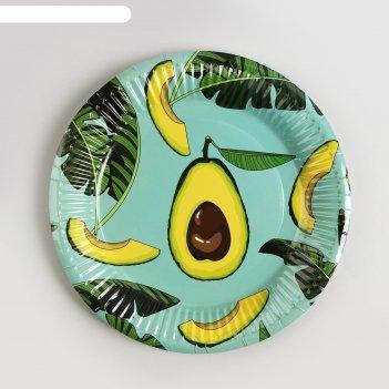 Тарелки бумажные «авокадо», набор 6 шт.