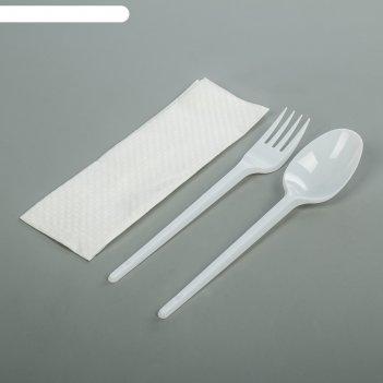 Набор мини, 3 шт: вилка, столовая ложка, салфетка