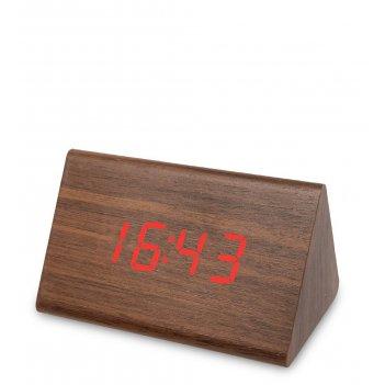 Ял-07-07/7 часы электронные треуг.сред. (коричневое дерево с красной подсв