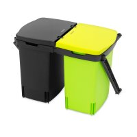 Контейнер для мусора, встраиваемый, объем: 2 х 10 л, материал: пластик, цв
