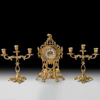 Часы настольные капелла с канделябрами на 3 свечи, набор из 3 предм.