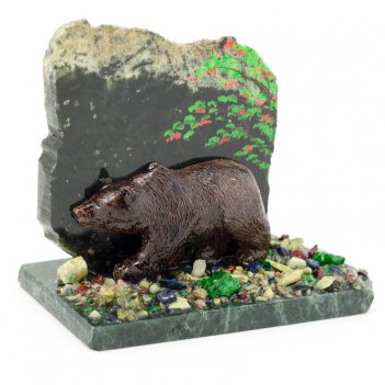 Сувенир мишка камень змеевик