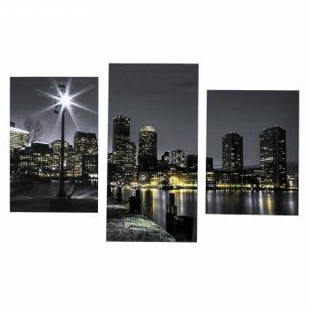 Картина модульная на подрамнике вечерняя набережная 99x65 см.(33х45, 33х50