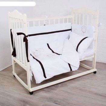 Комплект в кроватку (4 предмета) шоколадный мишка, цвет белый