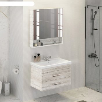Зеркало-шкаф comforty «никосия-80» дуб белый