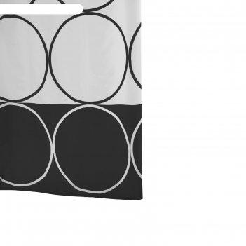 Штора для ванных комнат circle, цвет черный 180x200 см