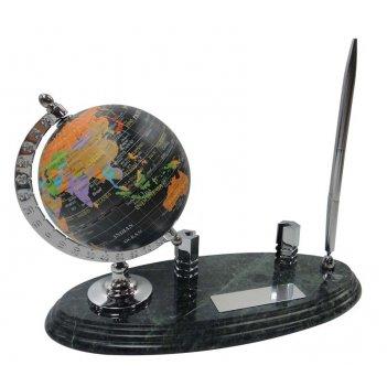 Настольный набор: глобус, держатель для визиток из алюминия, ручка шариков