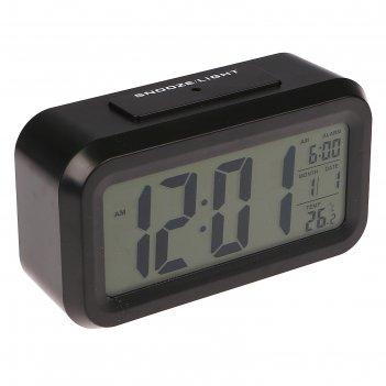 Электронные часы-будильник, подсветка, бат. 3aaa, дата, температура, чёрны