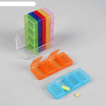 Таблетница-органайзер «неделька», 7 контейнеров по 4 секции, цвет микс