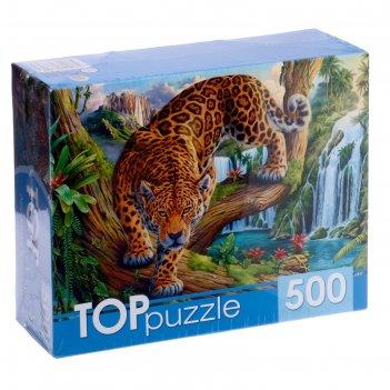 Пазл 500 эл. леопард у водопада хтп500-6813