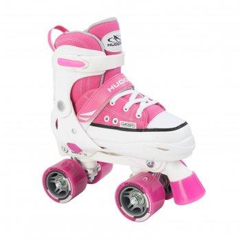 Роликовые коньки hudora rollschuh roller skate, цвет розовый, р-р 32-35