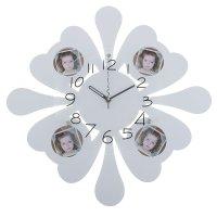 Часы настенные хайтек + 4 вставки для фото (6,5*6,5см) белые 45*45*5 см.