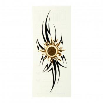 Татуировка на тело браслет солнце в стиле трайбл 5х12 см