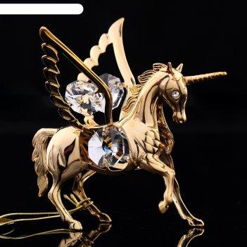 Сувенир «конь - пегас», 8x6x7 см, с кристаллами сваровски