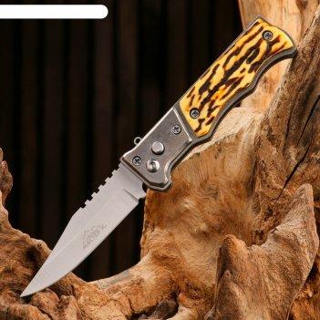 Нож выкидной полуавтом-ий, ручка пластик под кость,кнопка,предохр-ль, д.л.