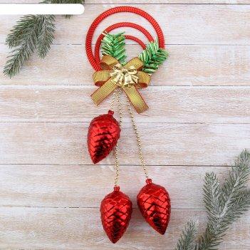 Украшение новогоднее шишки на подвесе с бантиком 10,5*33 см, красный