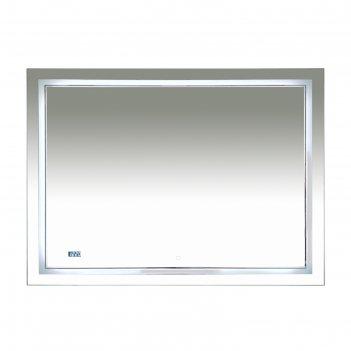 Зеркало 2 неон -  led 1200х800 сенсор на зеркале + часы (двойная подсветка