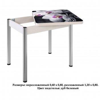 Стол поворотно-раскладной ника, орхидея 3, покрытие стекло, подстолье белё