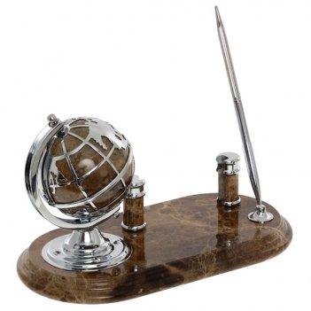 Настольный набор на мраморной подставке: глобус, ручка с под...