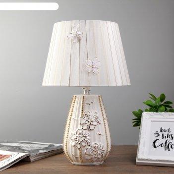 Лампа настольная ариадна 1x40вт e14 золото-белый 26х26х39 см.