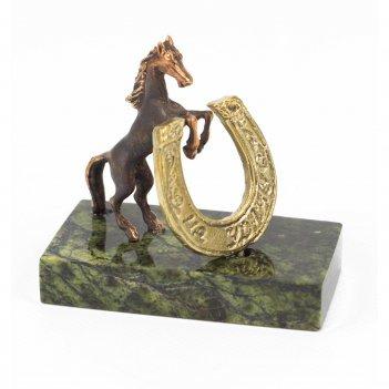Статуэтка конь с подковой на удачу бронза змеевик 50х30х45 мм