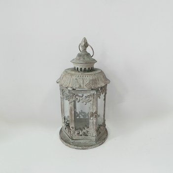 Фонарь садовый, под свечу,  белая патина