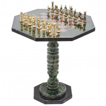 Шахматный стол фигуры римские бронза креноид змеевик
