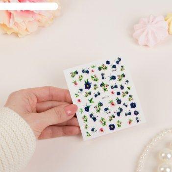 Слайдер-дизайн для ногтей цветы, цвет микс