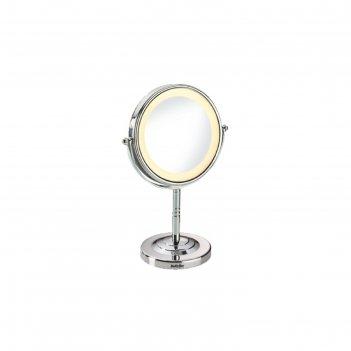 Зеркало babyliss 8438e, 20 втх2, с подсветкой, 20.5 см, двустороннее, сере