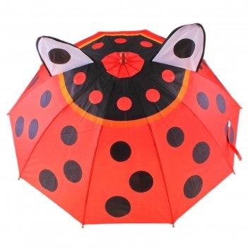 Зонт детский полуавтомат божья коровка с глазками и ушками 8 спиц d=87 см