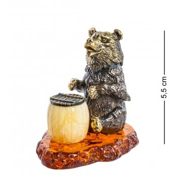 Am-1111 фигурка медведь с бочонком (латунь, янтарь)