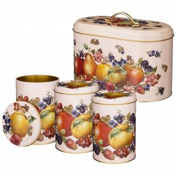 Набор agness фрукты хлебница 17,8*33,8*20 см, емкости для сыпучих 10,5*1