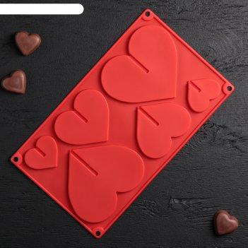 Форма для шоколада 3d, 6 ячеек, 17х29 см сердце