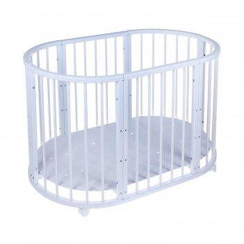 Кроватка-трансформер 6 в 1 merryhappy круглая/овальная, матовая, цвет белы