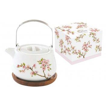Чайник на подставке из акации японская сакура в подарочной упаковке