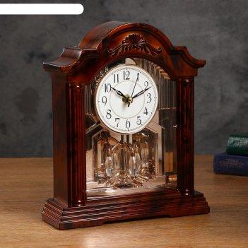 Часы настольные с маятником, дискретный ход, 3 аа, вращающийся механизм