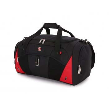 Сумка спортивная wenger, чёрный/красный, полиэстер 600d, 56х25,5х28,5 см,