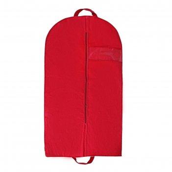 Чехол для одежды 100х60 см, с окном, цвет бордовый