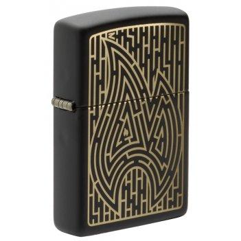 Зажигалка zippo zippo maze с покрытием black matte, латунь/сталь, чёрная,