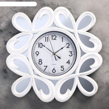 Часы настенные серия жанна, зеркальные завитки, ретро циферблат, белые d=4