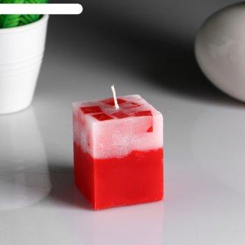 Свеча- куб с мозаикой клубника ароматическая, 5x6 см