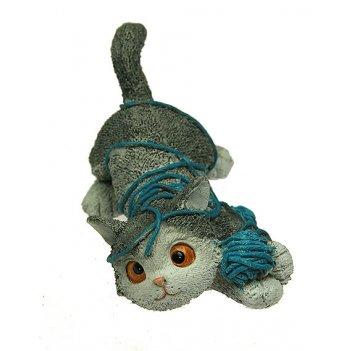 Фигурка декоративная котенок с клубком 10*6*5см (уп.1/72шт.)