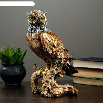 Фигура сова на коряге бронза 35см
